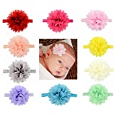 Rzctukltd 10PCS Baby Girls Hairband Bow Soft Head Elastic Band Headband Flower Hair Access