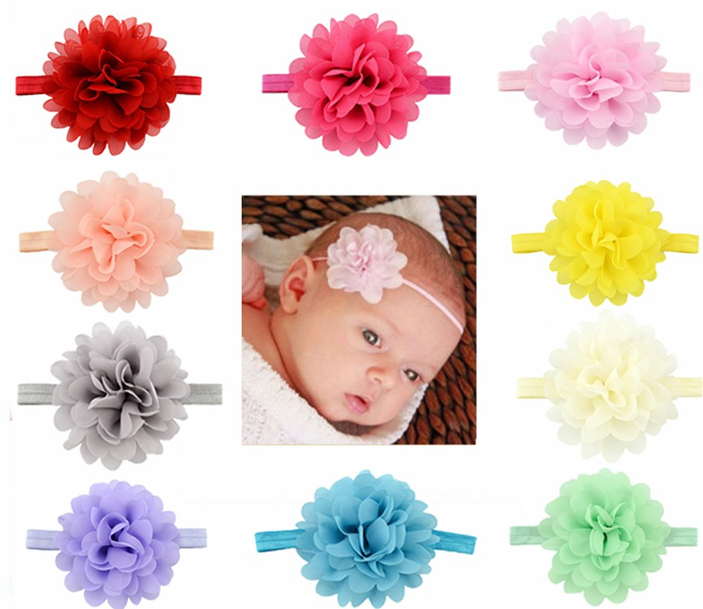 Rzctukltd 10PCS Baby Girls Hairband Bow Soft Head Elastic Band Headband Flower Hair Access