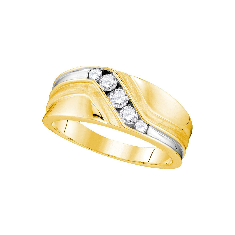 10kt Yellow Gold Mens Round Natural Diamond Band Wedding Anniversary Ring (3/8 cttw.)