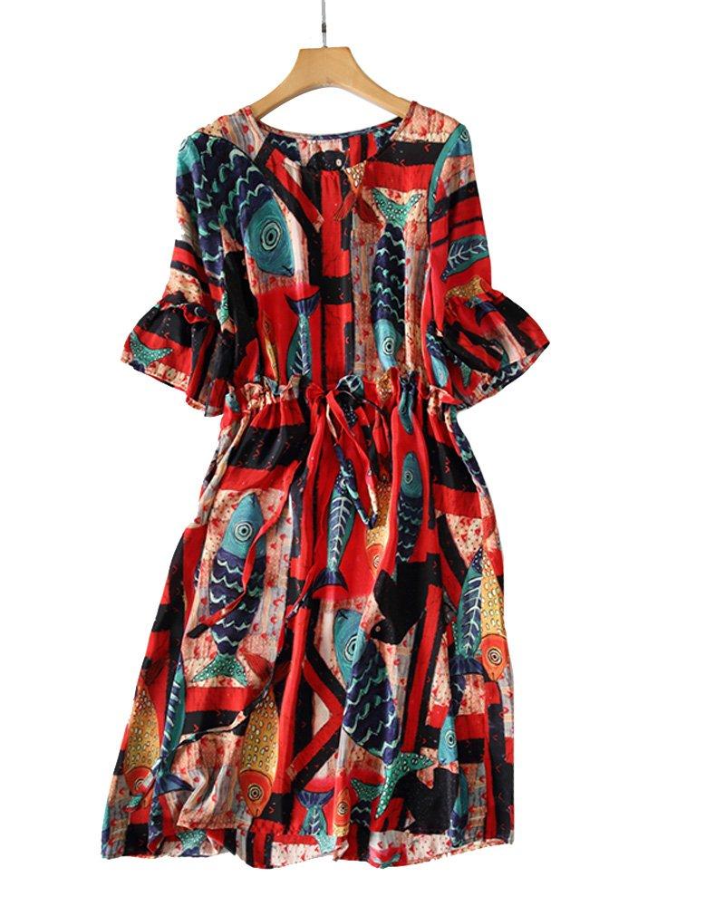 UAISI2018 Women 100% Mulberry Silk Mid Long Dress Casual Summer Print Skirt (L, Reds)