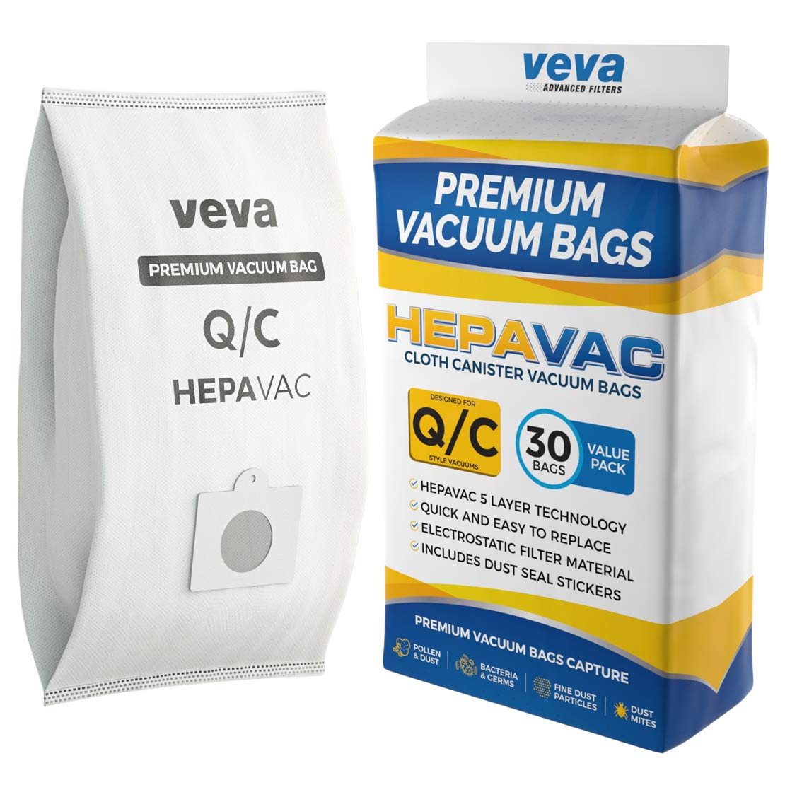 VEVA 30 Pack Premium HEPA Vacuum Bags Type Q Cloth Bag Compatible with Kenmore Sears Canister Vacuum Cleaners Replacement Style C, CQ, 5055, 50557, 50558, 53292, 53291 Bags by VEVA