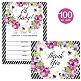 Baby Shower Invitations ( 100 ) & Matching Thank You Cards ( 100 ), Envelopes Included, Large Gathering Mom-to-Be Party Boy Girl Neutral Fill-in Guest Invites & Folded Thank You Notes Best Value Set