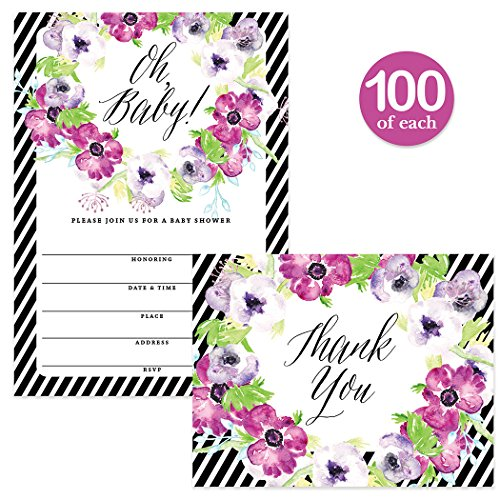 Baby Shower Invitations ( 100 ) & Matching Thank You Cards ( 100 ), Envelopes Included, Large Gathering Mom-to-Be Party Boy Girl Neutral Fill-in Guest Invites & Folded Thank You Notes Best Value Set by Digibuddha