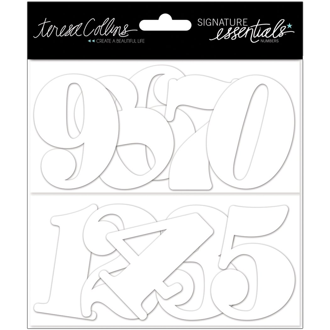 5 Each Of 0 Through 9 Signature Essentials Chipboard-Numbers