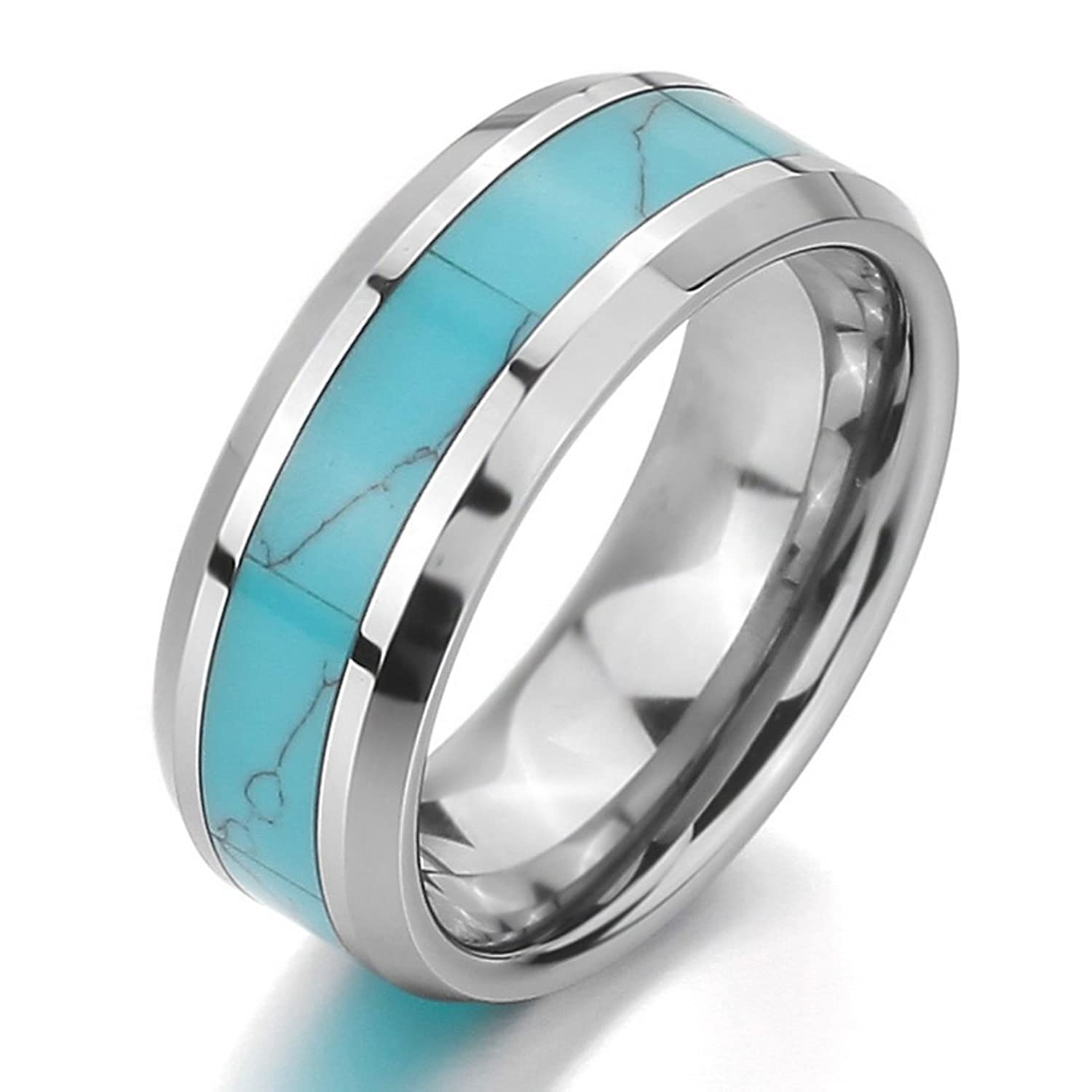 amazoncom inblue men womens tungsten ring band simulated turquoise silver tone blue comfort fit wedding tungsten rings for women jewelry - Turquoise Wedding Rings