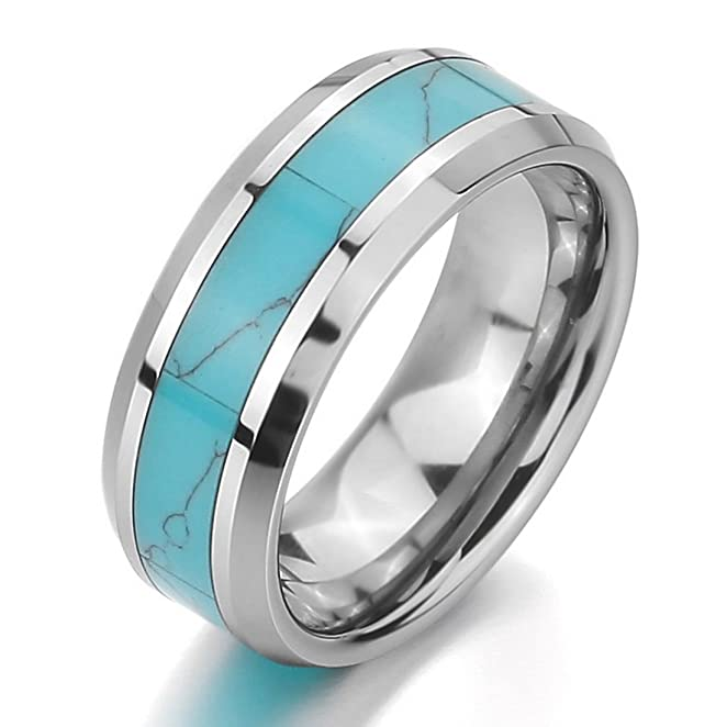Amazoncom INBLUE Men Womens Tungsten Ring Band Simulated