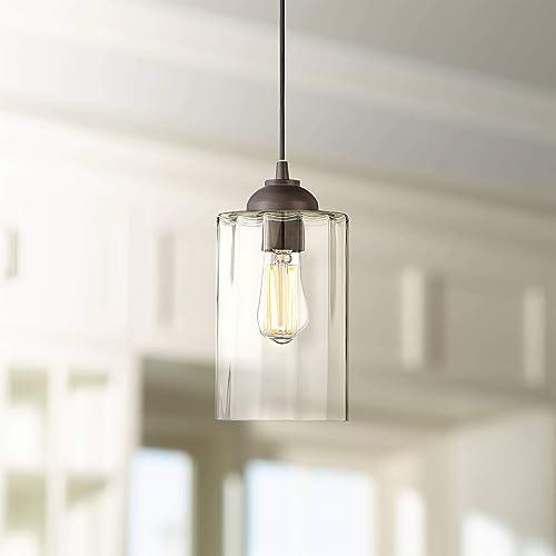 Hawthorne Bronze Mini Pendant Light 5 1 4 Wide Modern Clear Glass LED Fixture for Kitchen Island Dining Room – Possini Euro Design