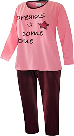 Pijama para mujer en tallas grandes Rosa. XXXX-Large: Amazon ...