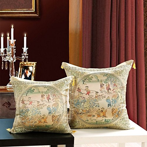 Chinese style silk cushions embroidered Chinese wedding/Car lumbar pillow/Mahogany sofa cushion/Pillow cover-I 52x52cm(20x20inch)VersionA