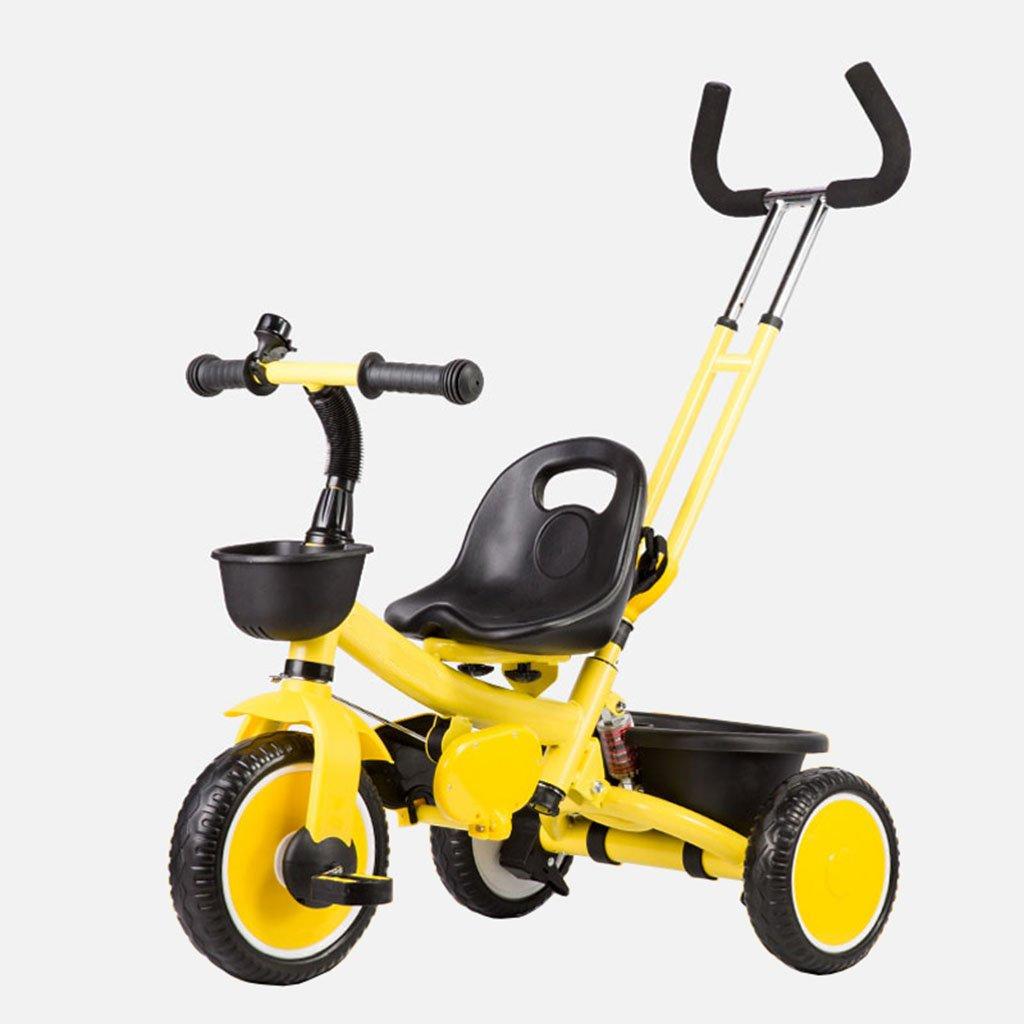 CGN子供の自転車、子供の学生の赤ちゃんの赤ん坊のキャリッジライト自転車三輪車のトロリー soft B07CMQLRGN イエロー いえろ゜ イエロー いえろ゜