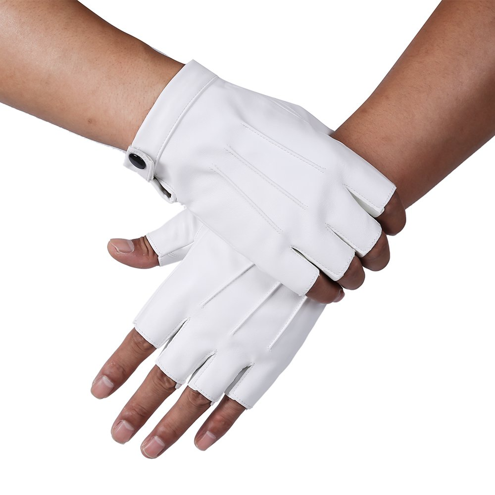 JISEN Men PU Leather Punk Half Finger Snap Performance Gloves CMG00588