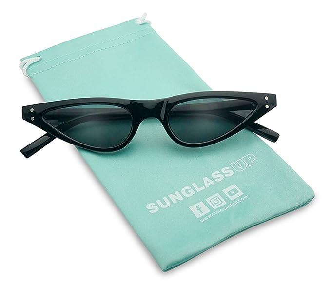1b5e2ac219 Vinatge Small Narrow Oval Clout Goggle Cat Eye Sunglasses Fashion Rivet  Retro Shades (Black Frame