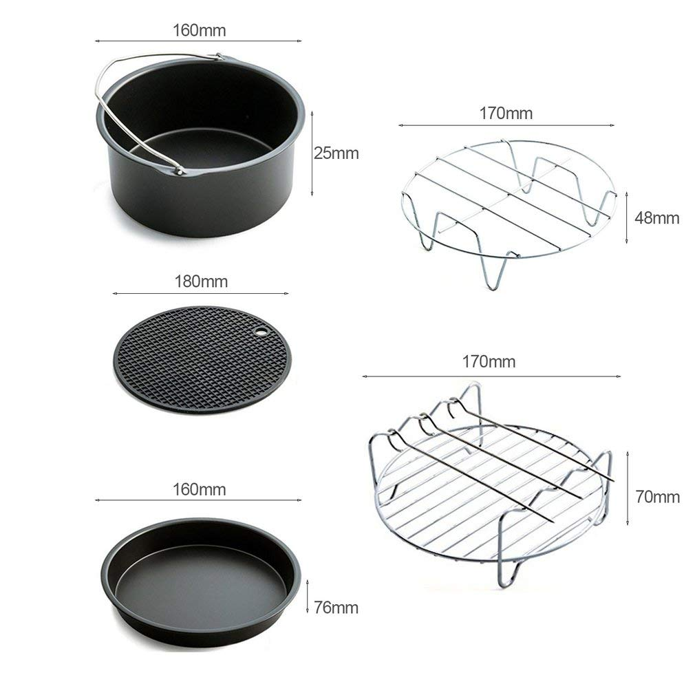 Home Air Fryer Accessories with Fryer, Baking Basket, Pizza Pan, Grill Pot Mat,Metal Holder Multi-functional Kitchen Accessory by Kath (Image #3)