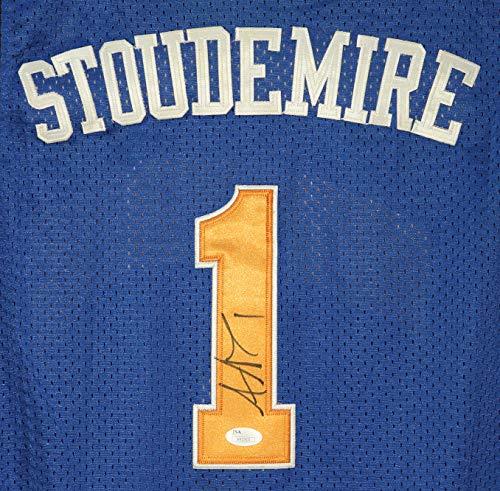 Amare Stoudemire New York Knicks Signed Autographed Blue #1 Jersey JSA - Nba Stoudemire Amare