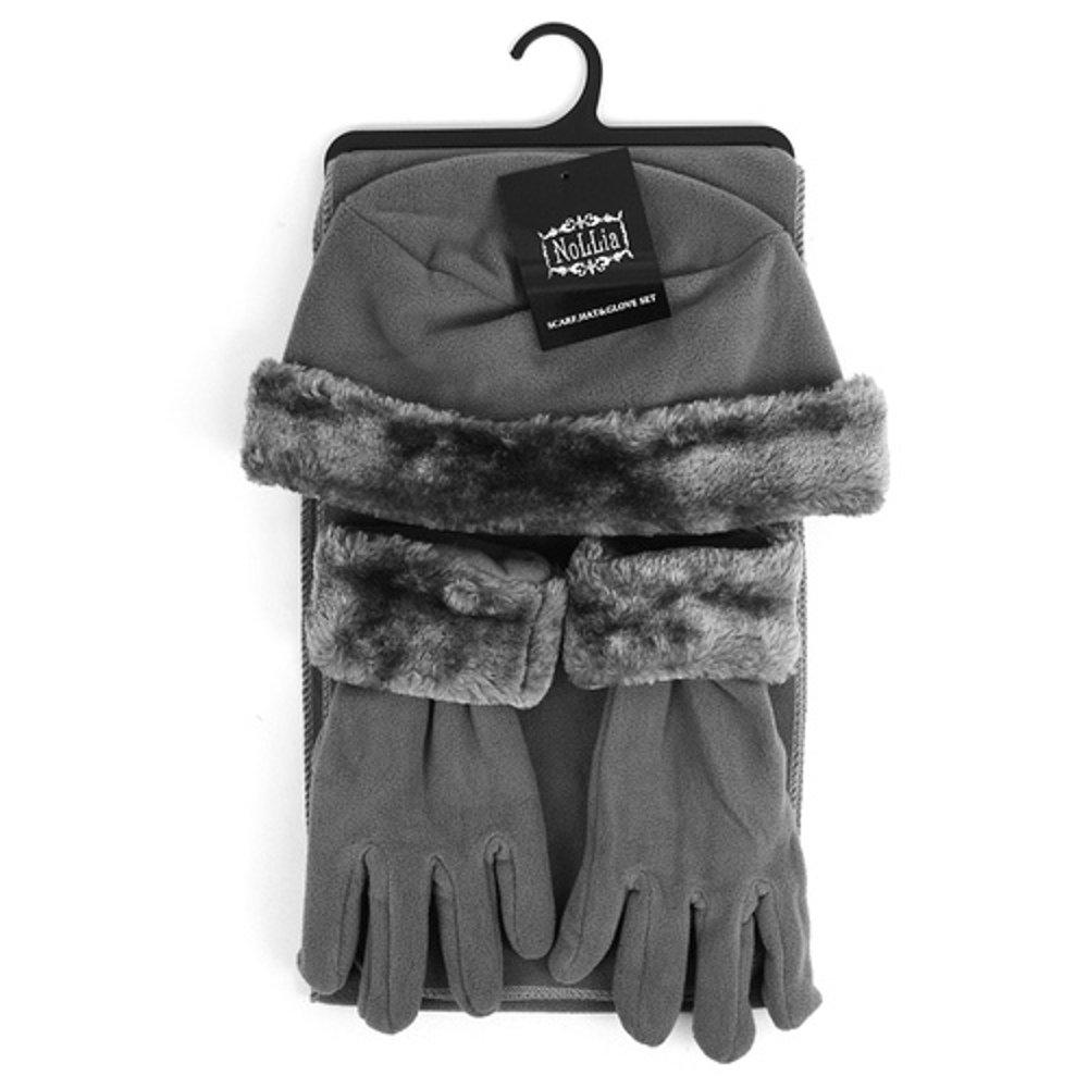 Women's 3 PC Cloche Faux Fur Trim Fleece Hat Scarf & Gloves Winter Set (Charcoal Gray)