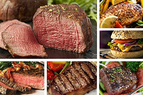 Black Angus Steak Sampler - 8 Cuts / 16 Burger Patties - Filet, Ribeye, Sirloins, Beef, Flat Iron, Marinated Chicken - Chicago Steak - Sirloin Beef