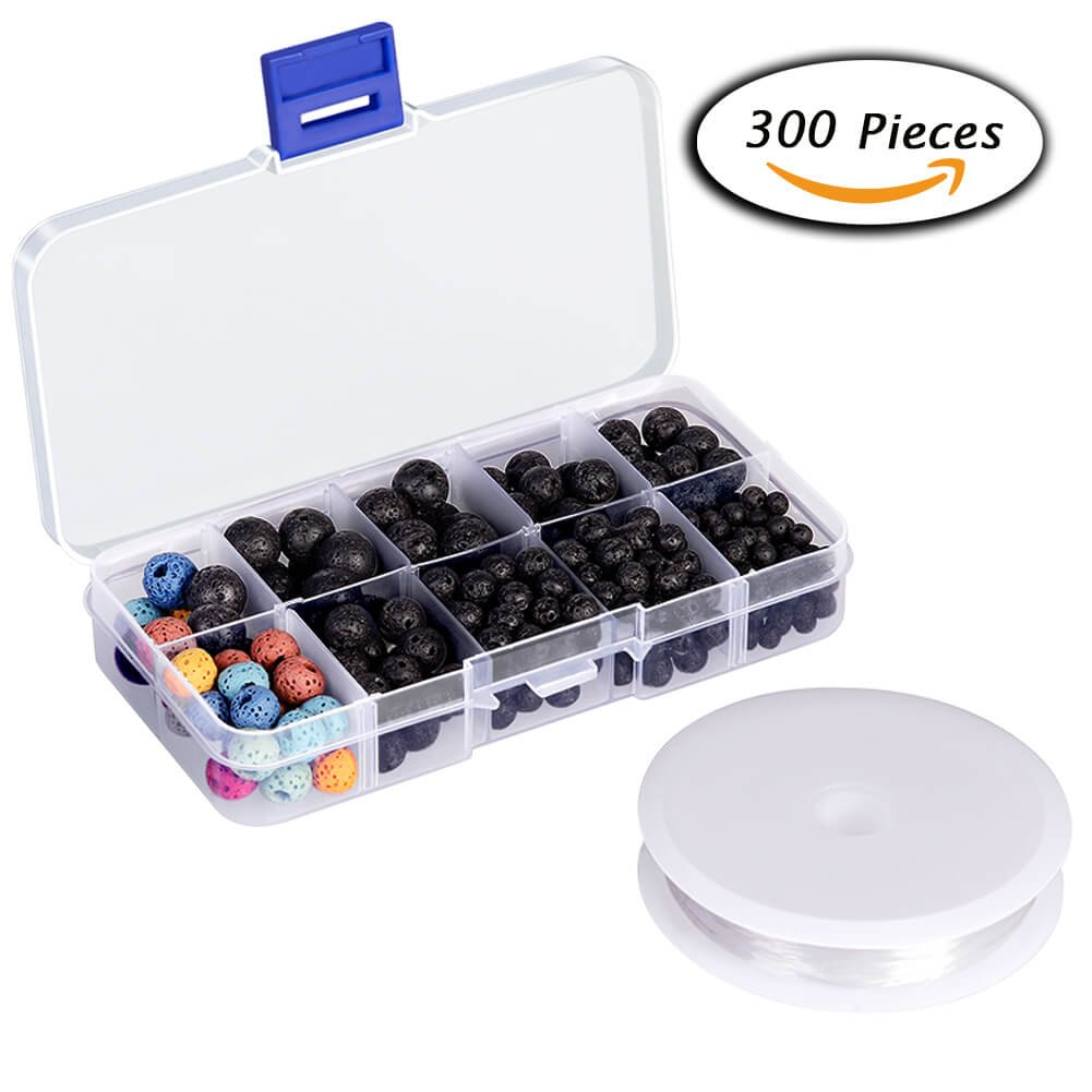 300pcs Lava Stone Rock Beads w...
