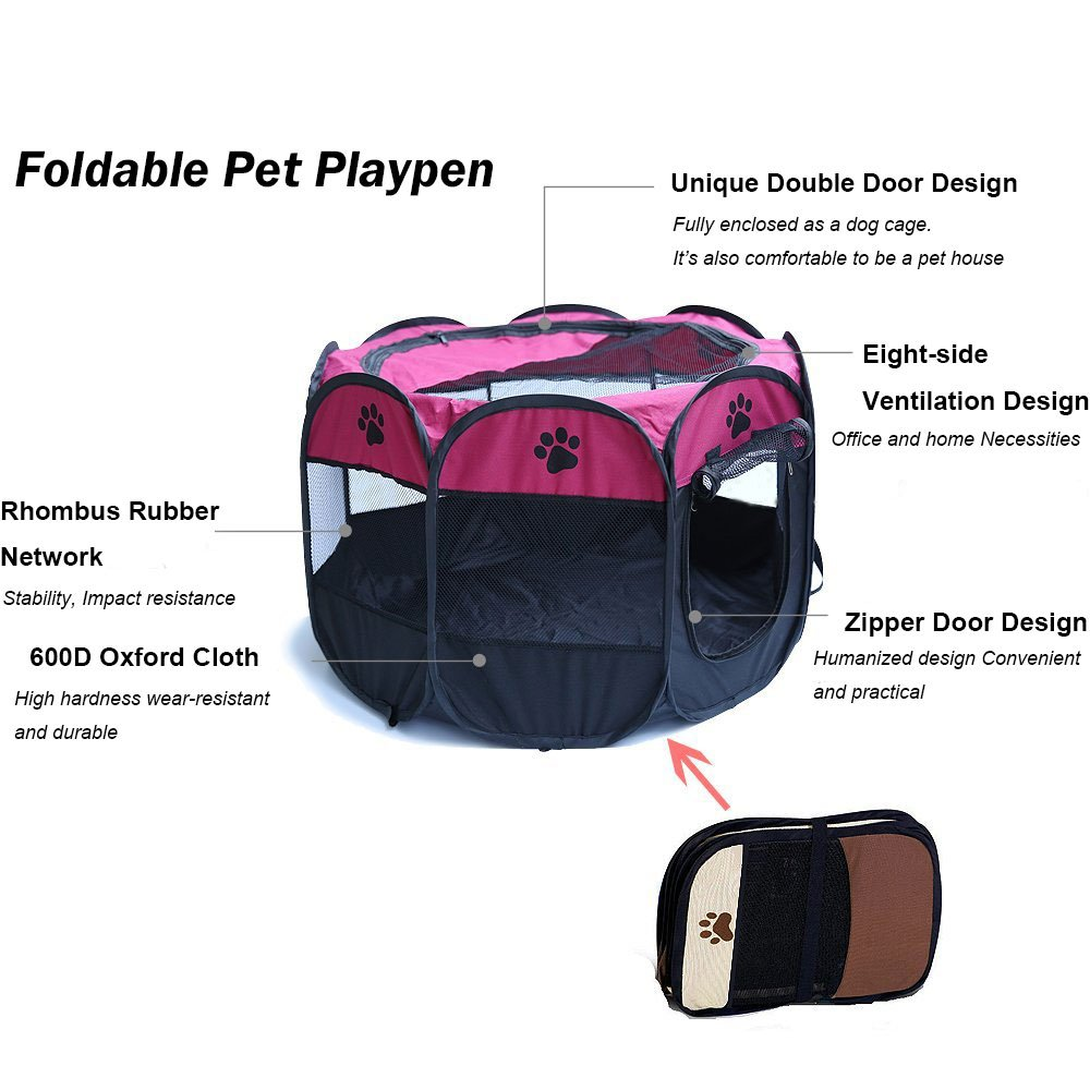 MESASA Portable Foldable Pet Playpen, Indoor/Outdoor, Dog/Cat/Puppy Exercise pen Kennel, Removable Mesh Shade Cover, dog pop up silhouettes pet pen (L, #3) by MESASA (Image #4)