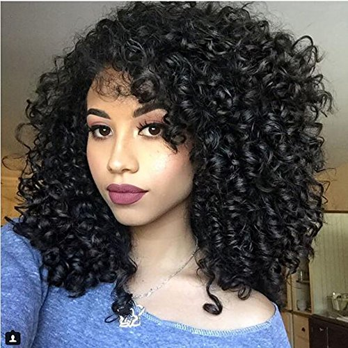 Beauty : AisiBeauty Full Afro Kinky Curly Wigs Shoulder Length Wigs for African American Womens Synthetic Wigs Black Natural Color Heat Resistant Wigs
