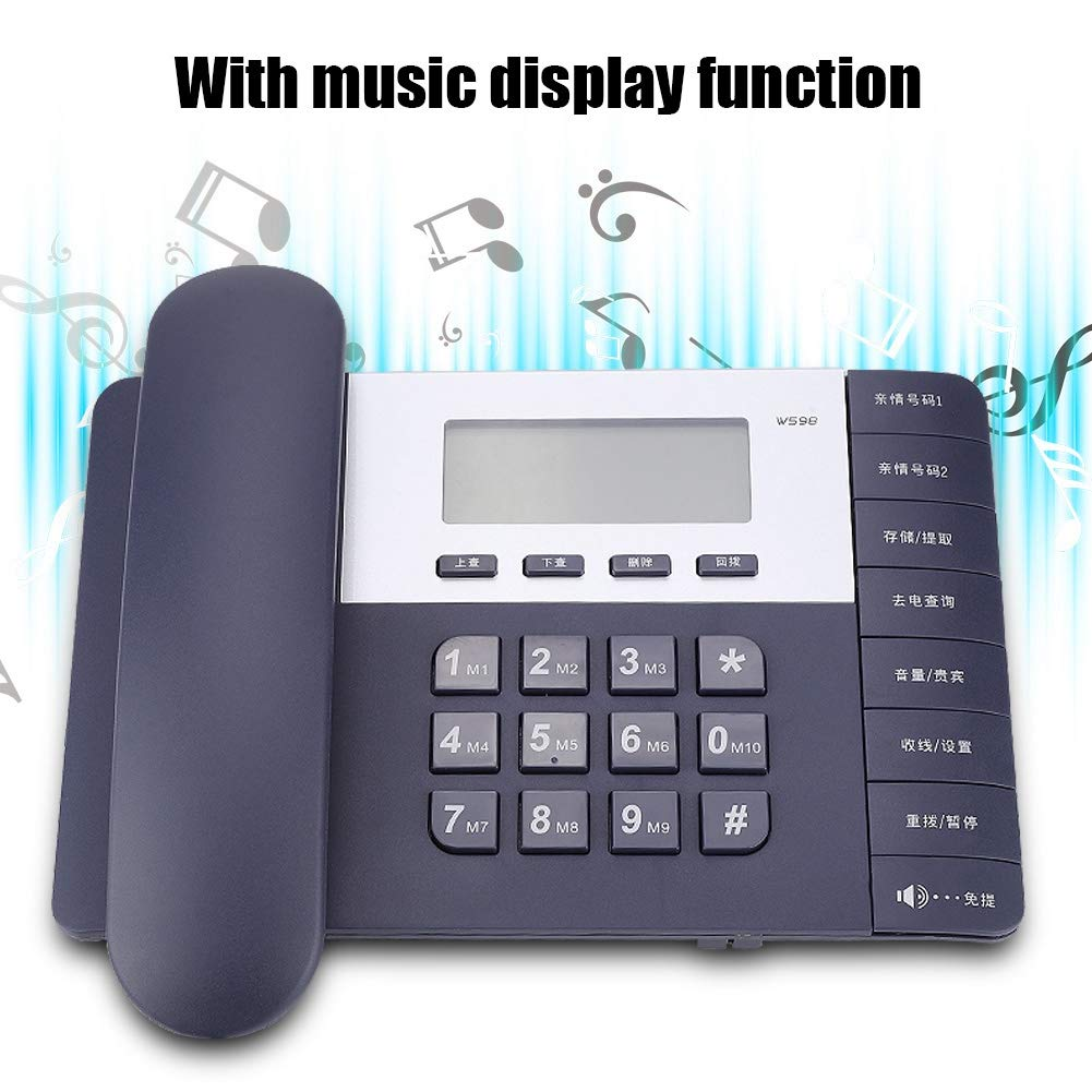 Diyeeni W598 Schnurgebundenes Telefon mit Anrufer-ID Display Schwarz Gro/ße Tasten f/ür B/üro Zuhause Senioren Freisprech Funktion Corded Business Schnurtelefone Desktop Telefon mit LCD Anzeige