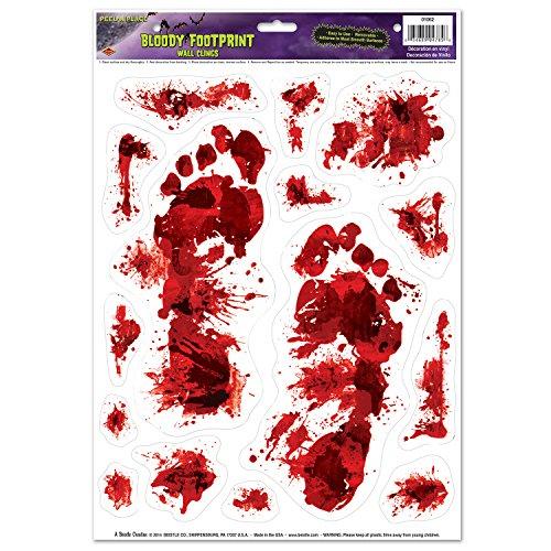 Beistle Bloody Footprints Peel 'N Place Sheet, 12 by 17-Inch, -