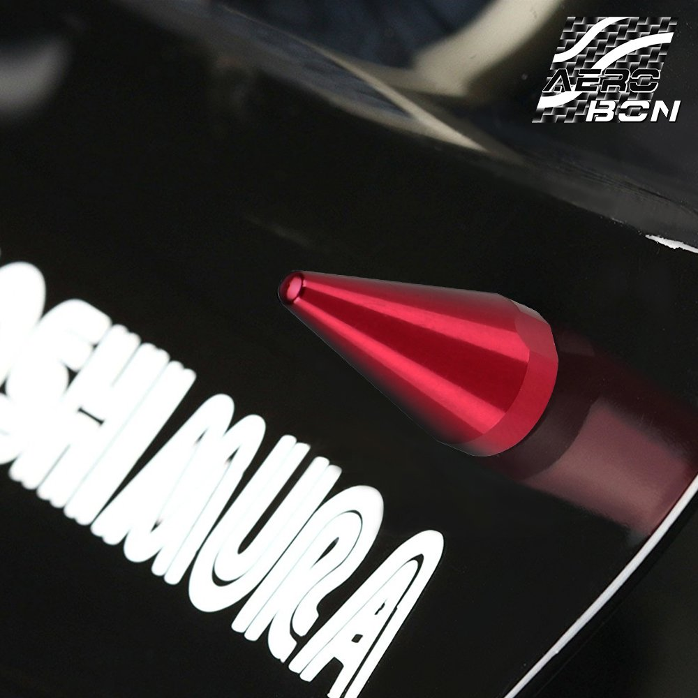 Black AeroBon Aluminum Spike Motorcycle Windscreen Bolts Windshield Screws+Valve Stem Caps 10+2 Pieces