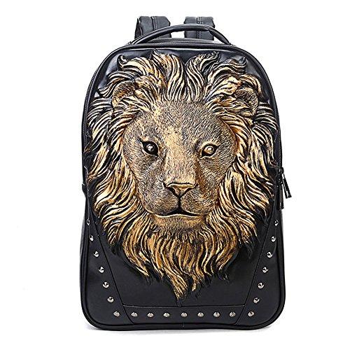 - 3D Print Animal Studded Backpack, PU Leather Cool Backpack Bookbag (Lion-Gold)