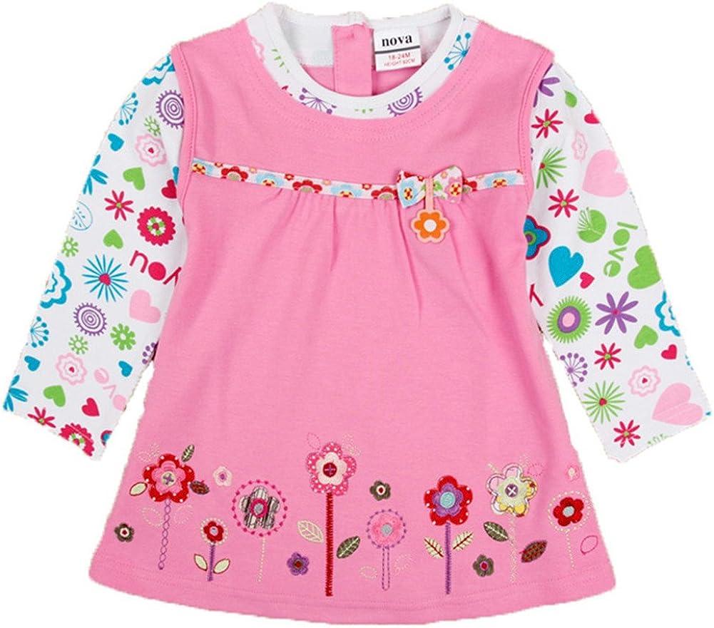 novatx Toddler Flower Girl Dress Cotton Long Sleeve Baby Girls Winter Dresses H2762 Blue Pink