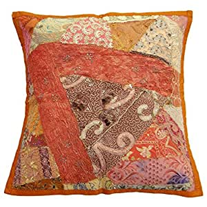 """Rust Orange Traditional Cushion Cover Cotton Blend On 40 Cm Pillowcase Gift India Art 16"""" X 16"""""""