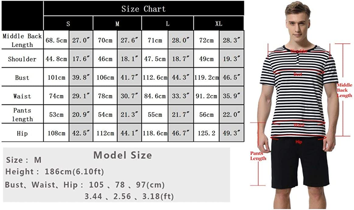 Aibrou Mens Summer Sleepwear Short Sleeve Striped Cotton Shorts and Top Pajama Set