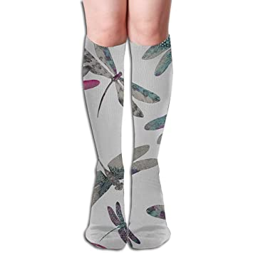 Xdevrbk 19.68 Inch Compression Socks Dragonfly Dance Insect ...