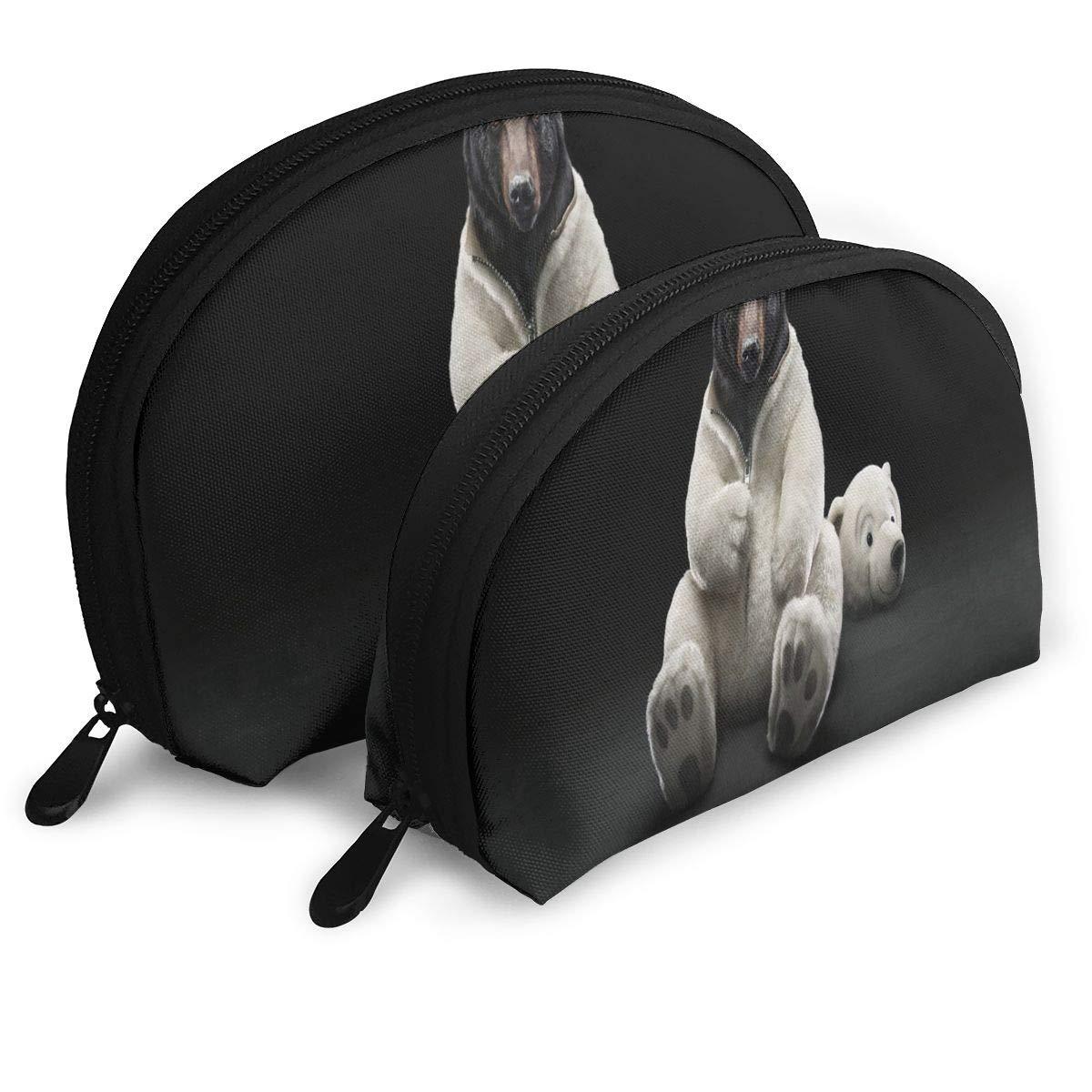 c1619d6bb1b5 Amazon.com : Makeup Bag Undercover Brown White Funny Bear Handy Half ...