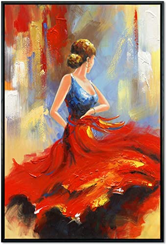 Wieco Art Framed Art Flying Skirt Modern Artwork Abstract Dancing People Oil Paintings on Canvas Wall Art for Home Decorations Wall Decor Stretched with Black Frame AB1120M-BF