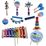 FITYLE Kids Educational Wooden Drum Rattles Toy Baby Hand Drum Toy Musical Drum Rattles Instrument Handbell Gift - 12Pcs