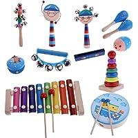 MagiDeal 1 Set Orff Percussion Musical Instruments Handbell Tambourine Kit Kids Preschool Kindergarten Music Learning Toys 12Pcs