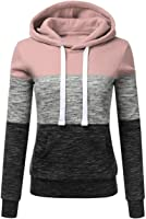 ZZhong Women's Stripe Patchwork Hoodies Color Matching Sweatshirt with Pocket