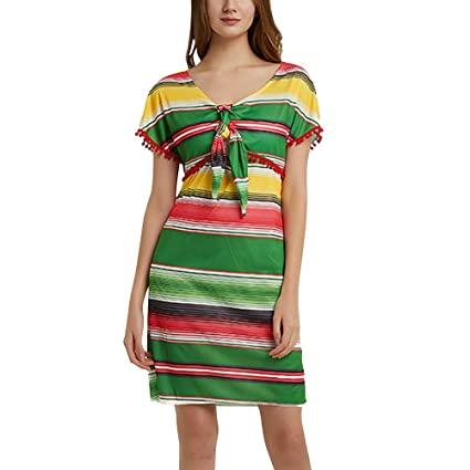 Amosfun Vestido De Fiesta Estilo Mexicano Vestido De Fiesta