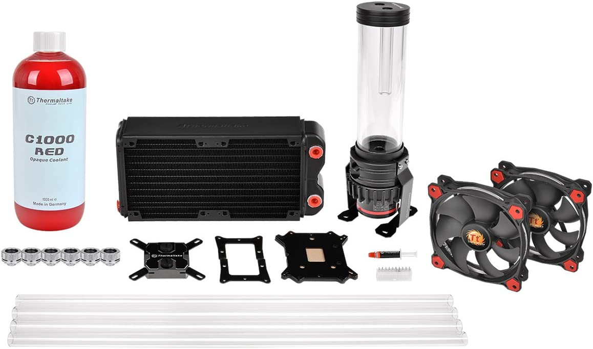 Thermaltake Pacific RL240 D5 Hard Tube Water Cooling Kit with 2X Riing 120 mm Hi Static Pressure Red LED Fan - Black