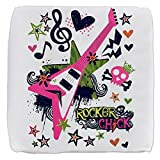 18 Inch 6-Sided Cube Ottoman Rocker Chick Guitar Treble Clef