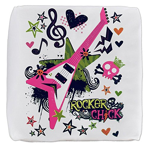 18 Inch 6-Sided Cube Ottoman Rocker Chick Guitar Treble Clef by Royal Lion