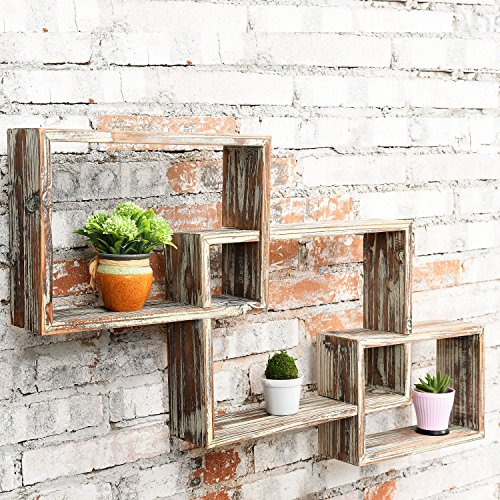 interesting floating shelves ideas living room | MyGift Wall-Mounted Country Rustic Brown Interlocking ...
