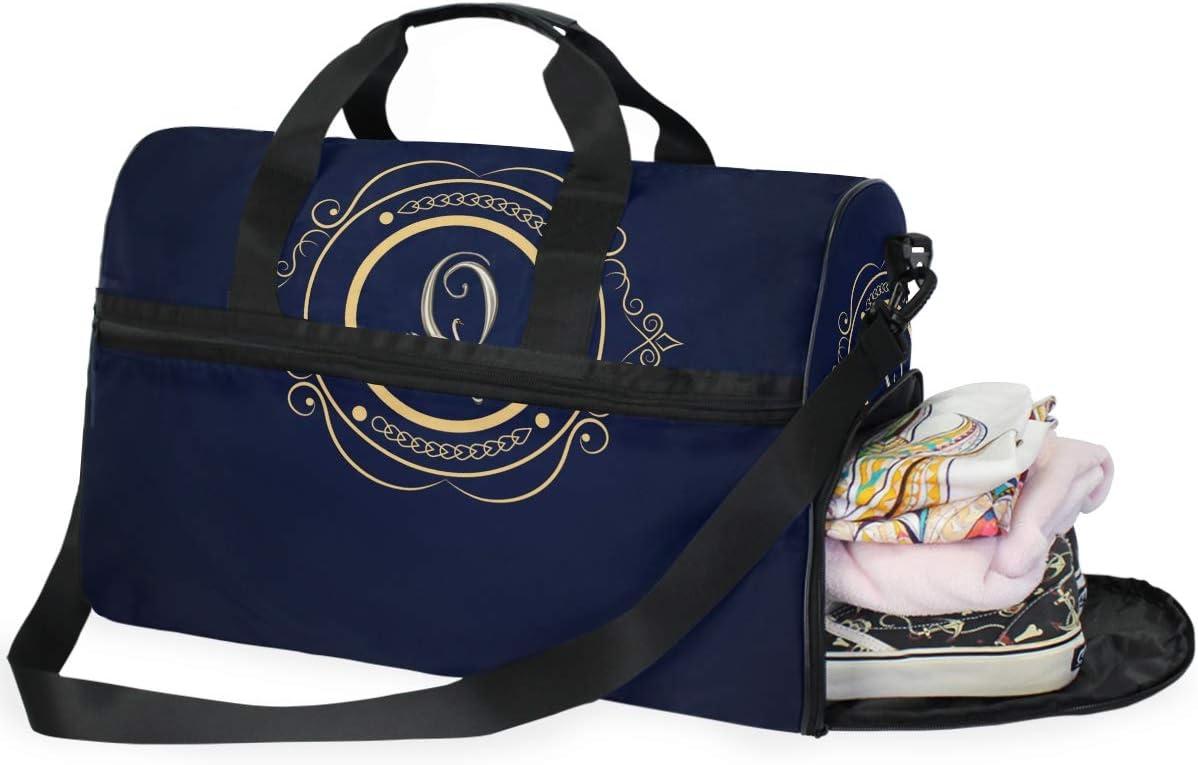 Weekender Bag with Shoes Compartment for Men Women MALPLENA Letter Q Travel Duffel Bag