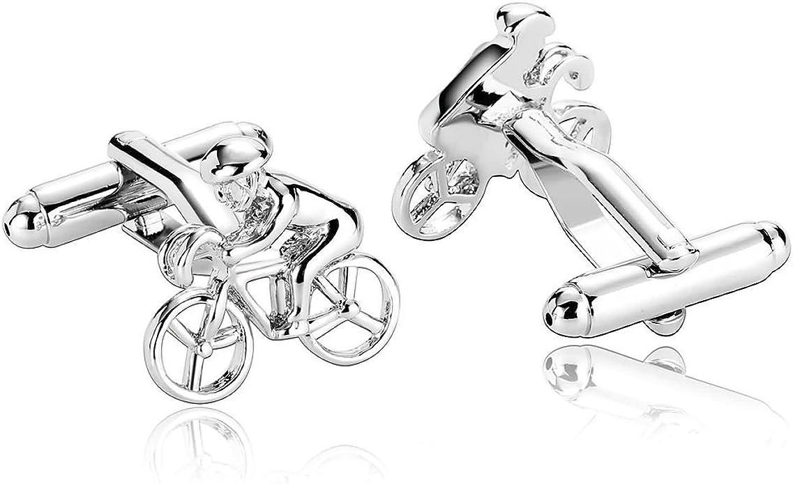 Alimab Joyería Gemelos Para Hombres Bicicleta-Plata - Acero Inoxidable Hombre Mancuerna: Amazon.es: Joyería
