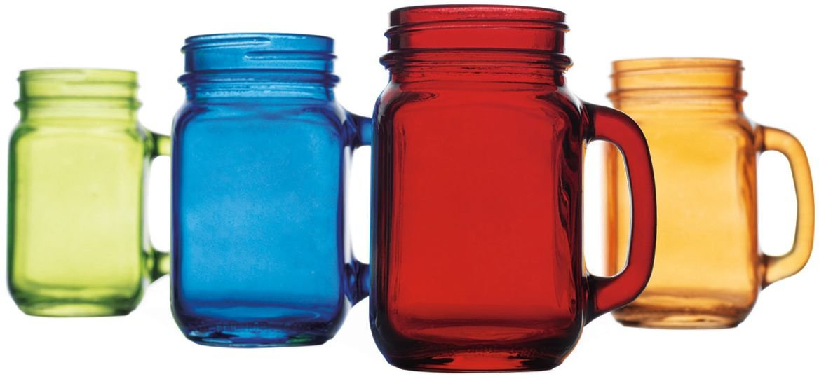 Home Essentials & Beyond Assorted Colored Handled 16 oz Mason Jars (Set of 4), Clear