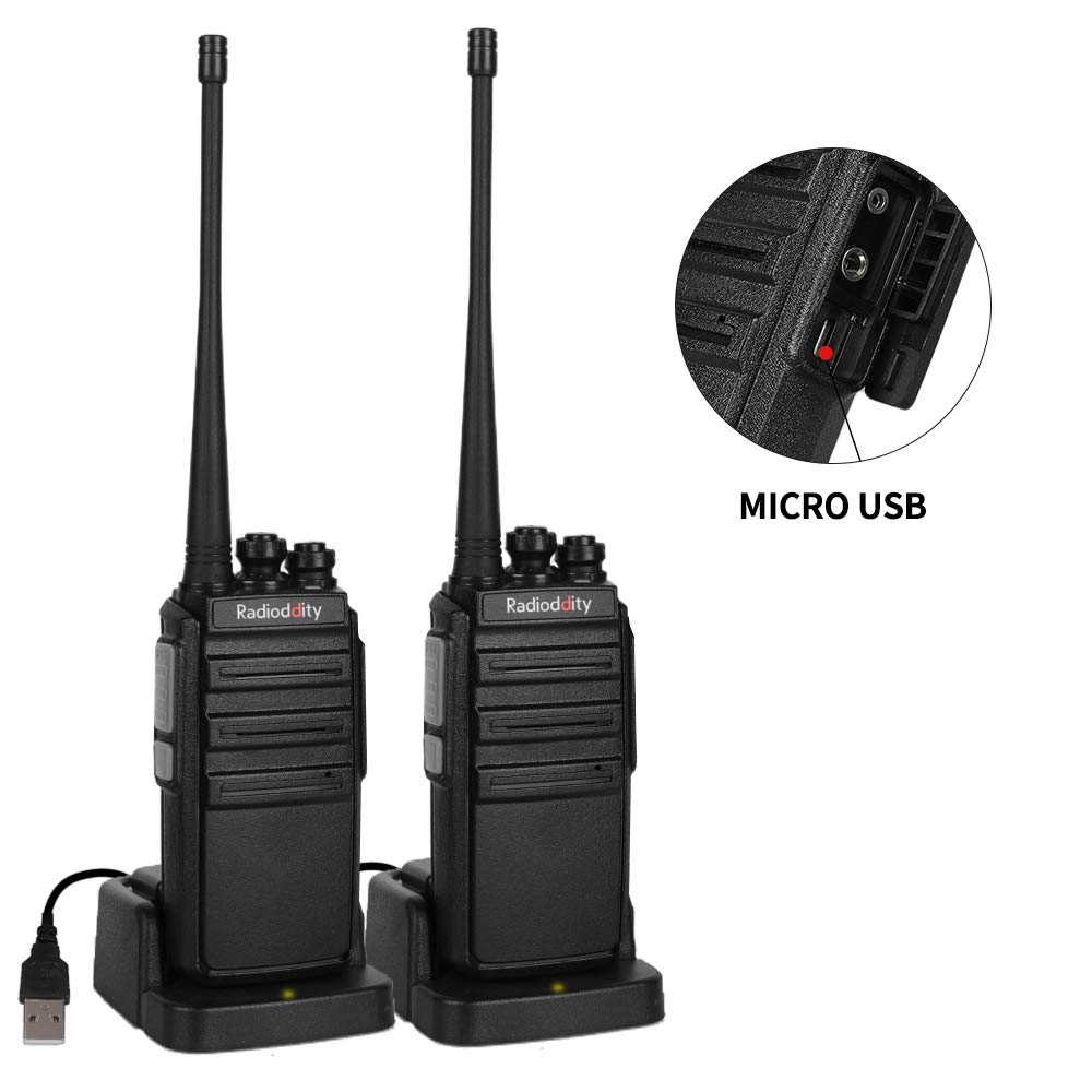 Radioddity GA-2S UHF Two Way Radio 16CH Rechargeable VOX Long Range Walkie Talkies with Micro USB Charing + USB Desktop Charger + Earpiece, 2 Pack