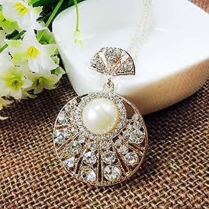 Manchester Case ropa de collar para mujer con colgante redondo contar con brillantes de cristal y perlas-Cadena de bicicleta
