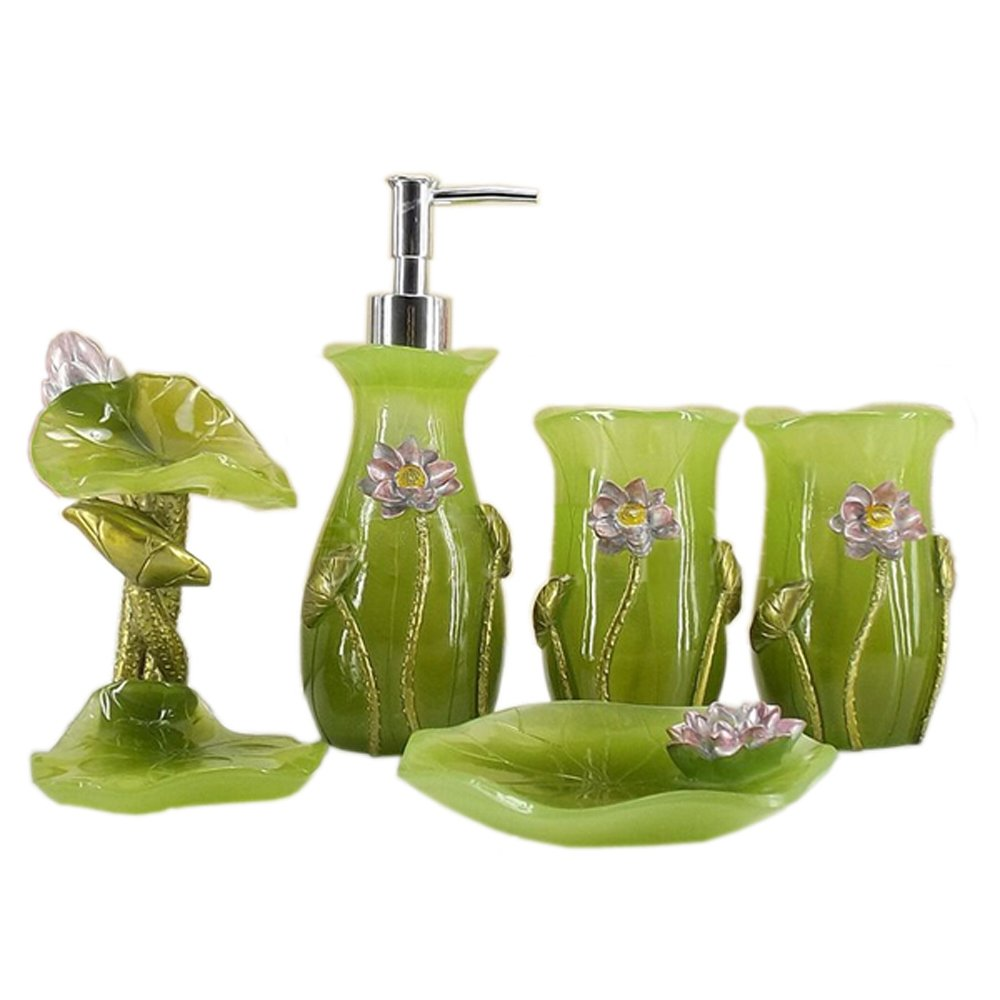 5pcs Lotus Resin Bathroom Accessory Set Complete, Green, Soap Dispenser, Toothbrush Holder, Toothbrush Cup, Soap Tray