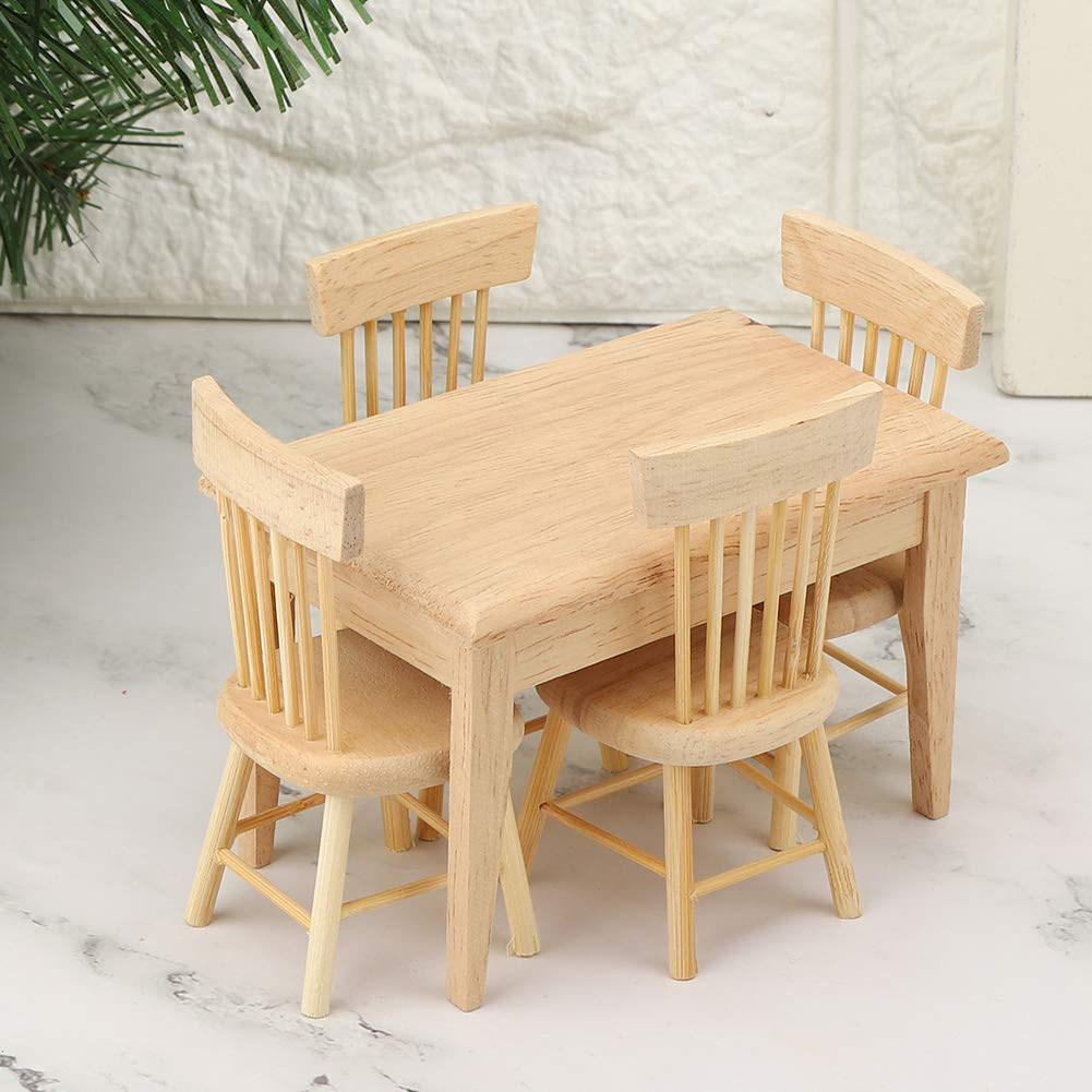 Soonhua 5 Pcs Dollhouse Miniature Desk Chair Set Simulated Mini Wooden Dining Room Furniture Set 1 12 Scale Dolls Accessories Toys Games