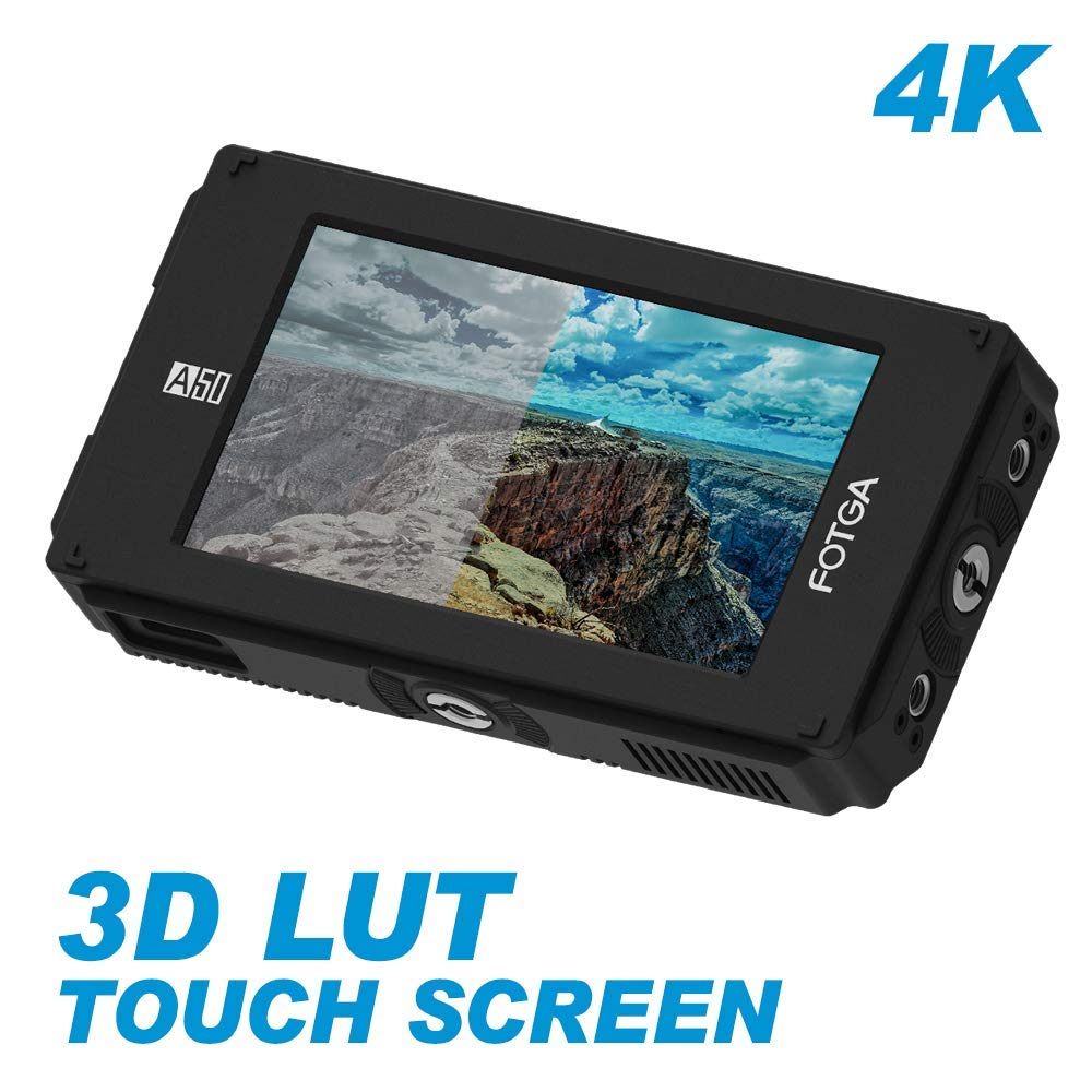 Fotga DP500IIIS A50TLS 5'' FHD IPS Video On-Camera Touch Screen Field Monitor,3D LUT, 3G SDI and HDMI 4K Input/Output,1920x1080,510cd/m2,Dual NP-F NP-F970 F770 F570 Battery Plate for DSLR Cinema Camera