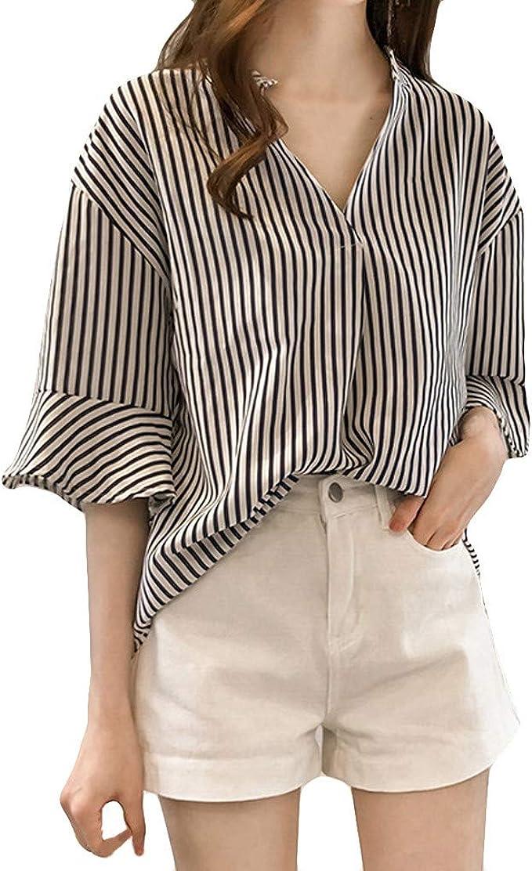 Damen Mode Revers Streifen Lose Taste Lässig Bequem Shirt Bluse Hemd Oberteile